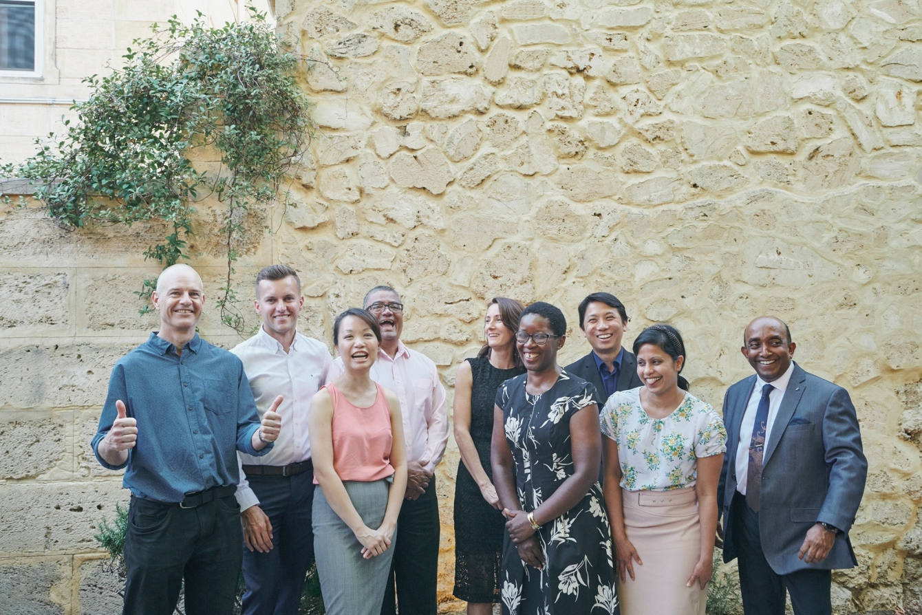 Spinnaker Health Research Foundation Grant Recipients 2020 pictured from left: Dr Jeremy Parry, Dr Michal Luniewski, Dr Lena Thin on behalf of Dr Abhey Singh, Dr Herbert Ludewick, Mrs Fiona Poelchow, Dr Jesica Makanyanga, Dr Teng Fong Ng, Dr Shereen Paramalingam, and Prof Yogesan Kanagasingam. Missing from image Prof Dickon Hayne